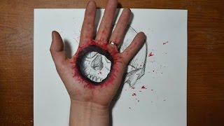 getlinkyoutube.com-Cool 3D Trick Art - Bullet Hole in Hand