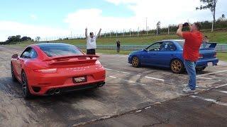Sport Cars Drag Race - 911 Turbo S, Subaru STI, Audi RS6, Challenger SRT8