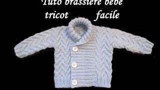 getlinkyoutube.com-TUTO BRASSIERE TORSADE BEBE TRICOT Cardigan knitted baby CHAQUETITA BEBE DOS AGUJAS