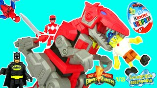 getlinkyoutube.com-Imaginext Power Rangers Dino Charge T-REX ZORD vs SPONGEBOB Unboxing Episode by Toy Review TV