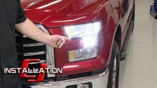 getlinkyoutube.com-F-150 PUTCO Low Beam Headlight Bulb Silver-Lux LED H11 Cool White Pair Halogen 2015-17 Installation