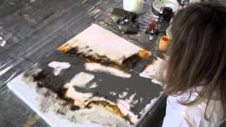 getlinkyoutube.com-Acrylbild - Marmormehl geschüttet, Pigmente, Golden Flow