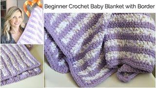 getlinkyoutube.com-Beginner Crochet Baby Stripes Blanket with Border:Baby Series