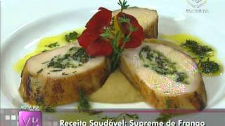 Receita saudável: Supreme de frango recheado com queijo branco e escarola - 04/05/2012