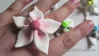 getlinkyoutube.com-Clay Flower Tutorial For Beginners by MissClayCreations