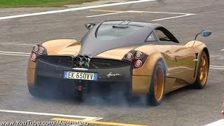 Gold Pagani Huayra Launch, Powerslides and Accelerations!