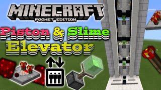 getlinkyoutube.com-Piston Elevator in MCPE [MCPE Redstone] Slime block elevator SHOWCASE