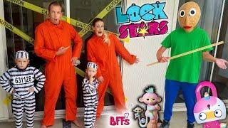 Baldi's Basics in Real Life Escape Room!!! 7 Lock Stars Toy Scavenger Hunt & New Fingerling BFFs!