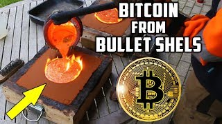 Casting Brass Bitcoin from Bullet Shells width=