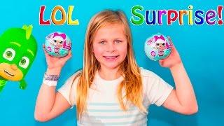 getlinkyoutube.com-LIL OUTRAGEOUS LITTLES Surprise LIL Surprise Dolls with PJ Masks and Surprise Bags Toys Video