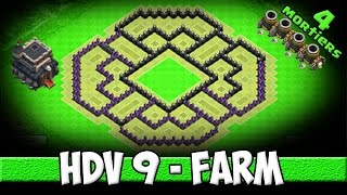 getlinkyoutube.com-Clash of Clans - Village Farming HDV 9 efficace (avec 4 mortiers ;)