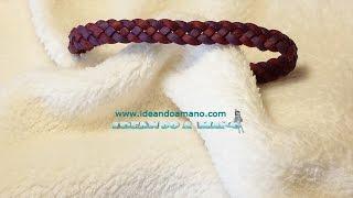 getlinkyoutube.com-Como hacer pulseras de piel trenzadas