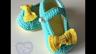 getlinkyoutube.com-Bailarinas a crochet para bebé de 3 a 6 meses