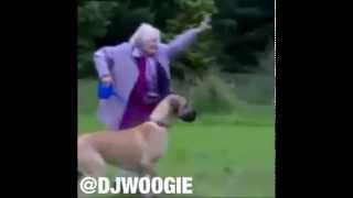 Hilarious~Grandma Gets Pulled By Dog width=