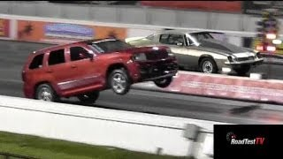 getlinkyoutube.com-Fastest NA SRT 8 Jeep Cherokee vs Big Block Camaro  - Wheelstand - Drag Race Video -- Road Test TV