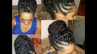 getlinkyoutube.com-Natural Hair Flat-twist Updo Protective Hairstyle