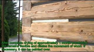 getlinkyoutube.com-Woodchink - sealing log home with flat logs style English.flv