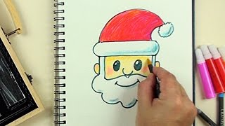 getlinkyoutube.com-How to Draw Emoji Santa with Kiddy Color 126 Pieces Art Kit Step by Step for Beginners
