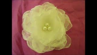 getlinkyoutube.com-Organza flower Tutorial ,DIY, how to ,fabric flowers