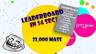 getlinkyoutube.com-LEADERBOARD IN 14 SEC + 22,000 MASS | AGARIO