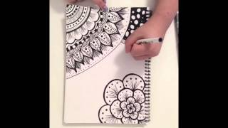 Zentangle Doodle Art ~ Fast Motion Speed Drawing ~