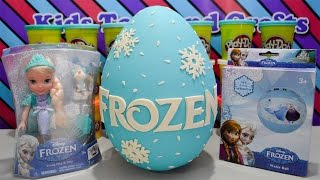 getlinkyoutube.com-Giant Disney Frozen Play Doh Surprise Egg w/ Disney Frozen Young Elsa and Olaf, Mystery Minis, LPS