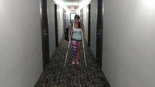 She Uses crutches for the first time!