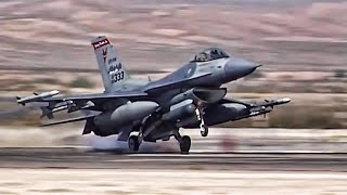 getlinkyoutube.com-F-16 Fighter Jets Preflight + Takeoff/Landing At Nellis AFB