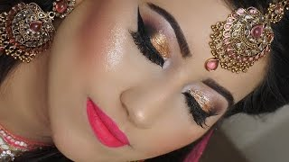 getlinkyoutube.com-Real Bride | Engagement/Nikaah Asian Bridal Makeup | Gold Smokey Eyes And Bright Pink Lipstick