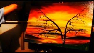 92. Painting an unzipped tree sunset