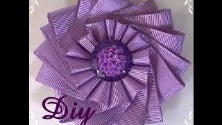 getlinkyoutube.com-Flor de fita de gorgurão DIY \ Ribbon flower