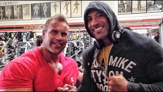 "getlinkyoutube.com-Jay Cutler Arms Workout At Gold's Gym With Dwayne ""The Rock"" Johnson"