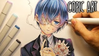 getlinkyoutube.com-Drawing ~ Ciel Phantomhive (Black Butler) (Copic Illustration)