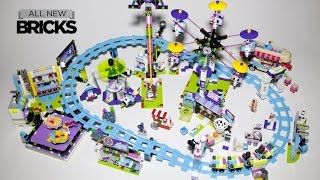getlinkyoutube.com-Lego Friends Amusement Park - Roller Coaster Bumper Cars Hot Dog Van Space Ride Arcade - Speed Build