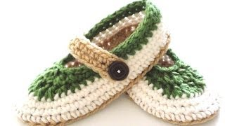 getlinkyoutube.com-St. Patty Slapper Crochet Slippers - Pt 3 - Top
