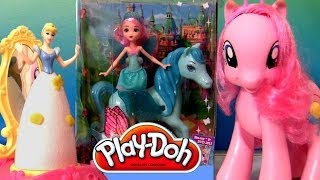 getlinkyoutube.com-Play-Doh Barbie Disney Princess Cinderella Royal Party Pinkie Pie Barbie Mariposa Fairy Doll Review