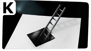 getlinkyoutube.com-How to draw 3D- optical illusion- hole with ladder - Iluzja optyczna 3D, timelapse