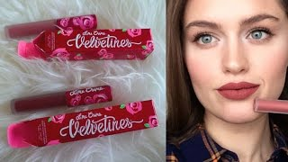 getlinkyoutube.com-Помады Lime Crime Velvetines: RIOT, WICKED, RED VELVET. Свотчи на губах