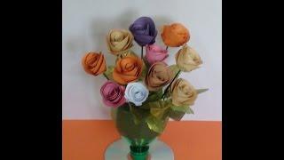 getlinkyoutube.com-Rolled Paper Roses bouquet tutorial