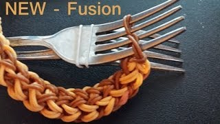getlinkyoutube.com-Fusion Rainbow loom Bracelet on two forks