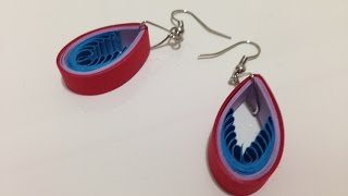 getlinkyoutube.com-Quilling Earrings Drop Blue