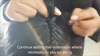 """getlinkyoutube.com-Two Cornrows """"Boxer Braids"""" with extensions can also use french braid/dutch braid! 