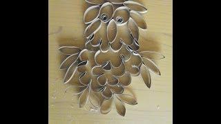 sowa z rolek po papierze