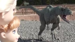 getlinkyoutube.com-Elsa and Anna dolls go to Dinosaur Land park and see dinosaurs, cavemen and play at the park