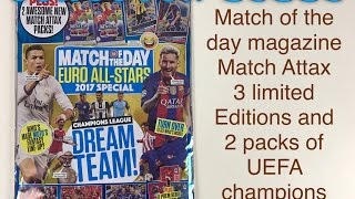 getlinkyoutube.com-Match of the day magazine Match Attax 3 limited edition UEFA champions league cards and 2 packs