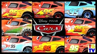 getlinkyoutube.com-Cars Lightning McQueen All Paint Jobs 8 Screen Race | Cars Fast as Lightning