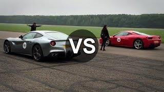 getlinkyoutube.com-Ferrari F12 Berlinetta Vs Ferrari 458 Italia, McLaren MP4-12C Drag Race