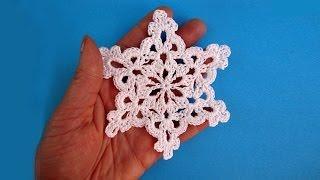 getlinkyoutube.com-How to crochet snowflake - Снежинка - Pattern for free - Вязание крючком