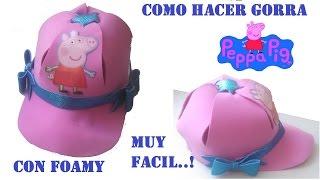 getlinkyoutube.com-COMO HACER GORRA DE PEPPA PIG CON FOAMY