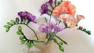 getlinkyoutube.com-Ribbon flowers: freesia of satin ribbons/tutorial/Цветы из лент: Фрезия. МК